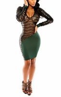 Evening Dress 2014 Fashion Women ML18235 Black Green V Neck Backless Leather Long Sleeve Bodycon Sexy Party Club Dresses