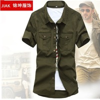 2014 Summer Men's New Shirts Short-Sleeve Military Breathable Cotton Frock Shirt For Men Casual Uniform Shock Hot Sale G8106