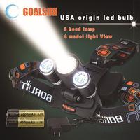 5000 Lumen 3x CREE XM-L T6 4 Modes Rechargeable Led Headlamp Head Lamps Led Headlight Light With 2X 4000mAh 3.7V 18650 Battery