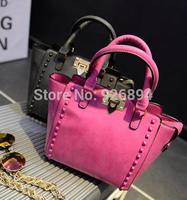 Famous brand design fashion candy-colored metal buckle rivet handbag shoulder bag lady bat bag messenger bags free shipping