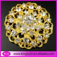 Free Shipping ! 10pcs/lot 37mm gold rhinestone brooch pin for wedding invitation card