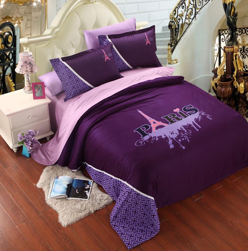 Popular purple paris bedding buy popular purple paris for Housse de couette paris tour eiffel