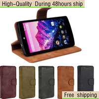 For LG E980 Google Nexus 5 with stand & card holder Matte Frosted Wallet Leather Case