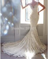 vestidos de novia New Arrival Fabulous Sexy V Neck Sleeveless Brush Train Bridal Gown Lace Appliques Mermaid Wedding Dresses