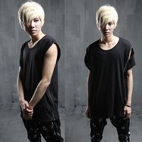 2014 new wave of male Korean fashion personality T-shirt worn multiple short-sleeved T-shirt tide T113 P55