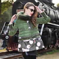 Free shipping foreign trade of the original   Korean fashion printing gauze skirt Women raccoon fur collar down jacket