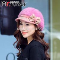 2pcs/Lot 2014 New Arrival Fashion Hats For Women Bowknot Applique Rabbit Fur Tweed Hat Women Warm Caps Multi-Color Free Shipping