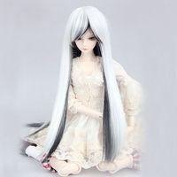 """[wamami] 97# Black-white Long Wig For 1/4 MSD AOD DOD DZ BJD Dollfie 7-8"""" inch"""