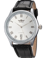 2015 new fashion men's casual leather strap quartz mechanical watch sports watch