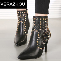 2014 Ankle boots heels Women shoes platform Rivet Fine with Luxury  Brand Boot star boots Fashion Autumn Designer high heels