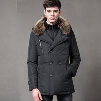 Winter Duck Down Jacket Men Outdoors Fashion Detachable Raccon Fur Hooded Double Collar Warm Parka Jacket Long Jaqueta Masculina