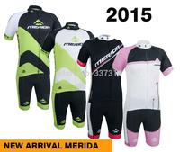 High quality!2015 MERIDA Cycling Jersey bib Kit Short Sleeve+bib Shorts Tight Men Ropa Ciclismo Bike Wear MTB Clothing 4 Styles