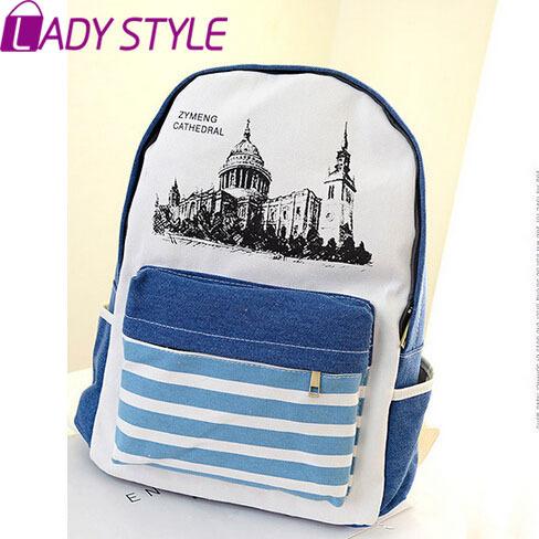 fashion canvas women backpack shoulder Bags vintage cartoon school bags strips backpacks travel bag new 2015 HL3384(China (Mainland))