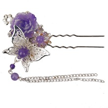 [wamami] 699# Purple Hairpin/OOAK Chinese Ancient Hairpin For 1/3 SD DOD Doll(China (Mainland))