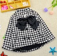 2-7Y 2014 winter little girls warm plaid tweed jacket coat  X14054 big lace bow decorated