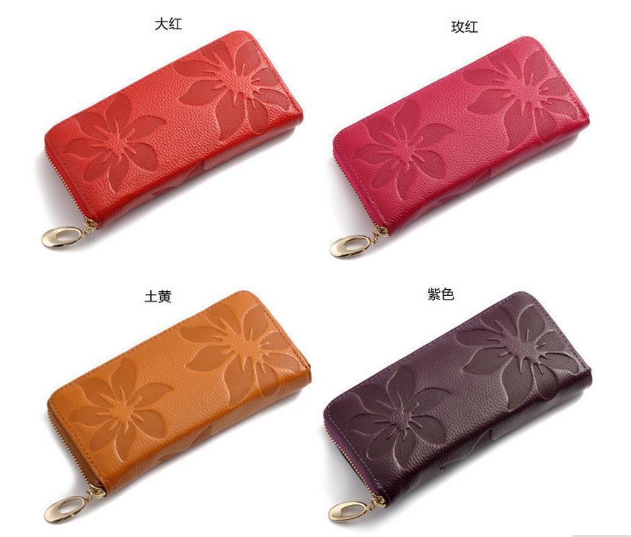 neuen 2014 frauen mode echtem leder brieftasche lange leder geldbörse tasche versandkostenfrei