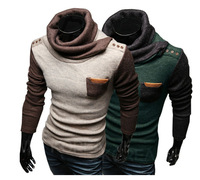New Fashion Men's Turtleneck Pullovers Patchwork Long Sleeve Warm Sweaters Free Shipping LJM033