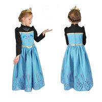 2014 Hitz Long-sleeved Girl Dress Frozen Elsa Princess Coronation Dress Girl Fashion Party Dress Size 100-140 In Stock Free Ship