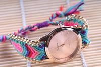 Free shipping Retail Manual Weave Colorful watch women 2015 new design women watch weekend deals women wristwatches