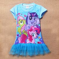 hot new 2014 summer cartoon my little pony print children girl dress,cute lace casual vestidos infantis menina free shipping
