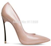 Women pumps Kim Kardashian Metal Blade High Heels genuine Leather shoes Pointed-Toe high heel shoes Gold heels wedding Shoes