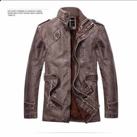XKYN New Arrival Winter PU Leather Jacket and Coat Long Thick Motocycle Leather Trench Coat  XXXL