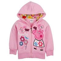 Retail Free shipping New Arrival Peppa Pig pure cotton hoodie, girl hoodie,cartoon hooded jacket