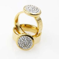Free Shipping Hot Fashion Jewelry Shinning Rhinestone Gold Plating Stainless Steel Ring Factory Wholesale  Men and Women  Rings