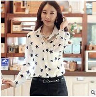 female body Spring and summer women's long sleeve chiffon blouse shirt cultivate  morality Pentagram printe star top work wear