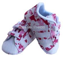 1 peça drop shopping rose et blanc en cuir souple bébés filles chaussures bébé sneaker première walkers age 0 - 18 mês(China (Mainland))
