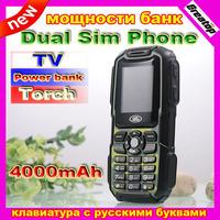 2014 New 4000mAh big battery A3 Russian keyboard power bank Mobile phone waterproof outdoor Dual Sim TV bluetooth mp3 B30 K28