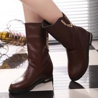 Fashion soft knee-high elevator boots martin boots metal chain rhinestone set boots