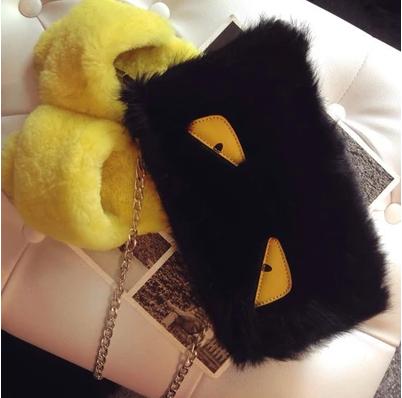 2015 Fashion Brand FD Monsters eyes leather handbag women messenger bags rabbit fur candy clutch handbags female shoulder bags(China (Mainland))