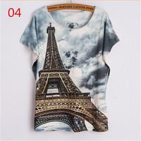 2015 summer latest fashion women t shirts 3 d Eiffel Tower printed t-shirt bat sleeve tee shirt O-Neck  t shirt Loose tops