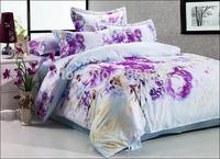 New Brand 2014 Bed Home Textile Bedding Four Piece Set Bed Flower Sheets Duvet Cover Cotton 4 Piece Suit Floral Printed