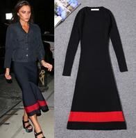 High Quality New Celebrity Fashion 2014 Fall Winter Women Striped Print Long Sleeve Knitted Long Dress Warm Wool Sweater Dress