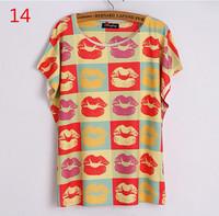 latest summer fashion women t shirts 3 d Sexy lips Novelty printed t-shirt bat sleeve tee shirt O-Neck  t shirt free shipping