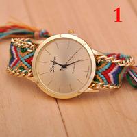 Free shipping Retail Manual Weave Colorful watch women 2015 new design quartz watch