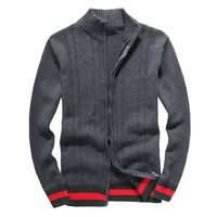 2015 New Warm Thick cashmere Sweaters Men Winter Cardigan zipper Tops stand Collar Man Casual Clothes Pattern Knitwear Big size