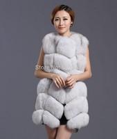 2014 Luxury Ladies' Genuine Silver Fox Fur Vest Waistcoat Female Gilet Winter Women Fur Outerwear Coat Jacket