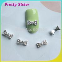 100pcs of 8mmx4mm 3D Alloy Rhinestone Bowknot bow tie nail art Decoration Wholesale