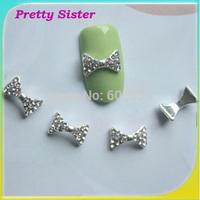 100pcs 9mmx5mm3D Alloy Nail Art Bows Decoration DIY Nail Charms Jewelry Wholesale