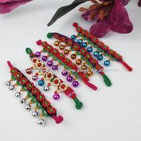 Yunnan National style Embroiery bracelet Handmade China Ethnic cloth flower Beaded bells Charm Bracelet