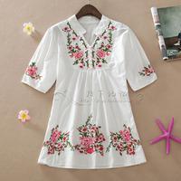 2014 spring and summer women's national vintage medium-long trend embroidered plus size short-sleeve shirt lantern sleeve shirt