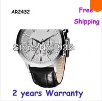 New AR2432 2432 Men's Chronograph Black Leather Strap Watch