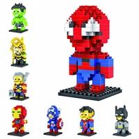 128pcs/lot DHL Free LOZ Diamond Blocks Builing Bricks Educational DIY Set Toys for Children Gift Spiderman Captain Iron Man