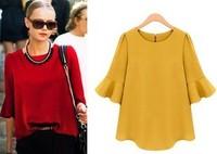 Free Shipping European Style Women Summer Tops New Fashion 2014 High Street   Ruffle Half Sleeve Casual Chiffon Blouses