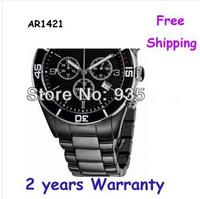 New AR1421 1421 Black Dial Chronograph Ceramic Bracelet Mens Watch