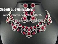 2014 fashion Paris Elegant  luxury  red flowers Zircon Necklace Earrings Set, wedding,banquet,annual formal jewelry,S14004
