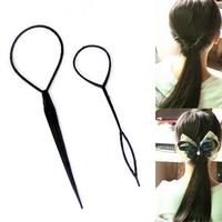 Hot Sale 2pcs Chic Magic Topsy Tail Hair Braid Ponytail Styling Maker Clip Tool Black Drop Shipping Headwear